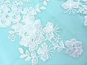 """Sequin Lace Appliques White Floral Venice Lace Mirror Pair Clothing Patch 14"""" BL146X"""