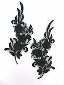 "Lace Appliques Black Floral Venice Lace Mirror Pair Clothing Patch 9"" BL147X"