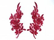 "Lace Appliques Burgundy Floral Venice Lace Mirror Pair Clothing Patch 9"" BL147X"
