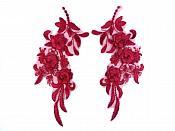 """Lace Appliques Burgundy Floral Venice Lace Mirror Pair Clothing Patch 9"""" BL147X"""