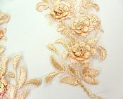 """Lace Appliques Peach Floral Venice Lace Mirror Pair Clothing Patch 9"""" BL147X"""