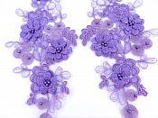 """Sequin Lace Appliques Lavender Floral Venice Lace Mirror Pair Clothing Patch 12"""" BL148X"""