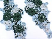"""Sequin Lace Appliques Dark Green Silver Floral Venice Lace Mirror Pair Clothing Patch 12"""" BL148X"""