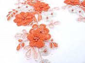 """Sequin Lace Appliques Orange Silver Floral Venice Lace Mirror Pair Clothing Patch 12"""" BL148X"""
