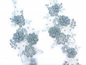 "Sequin Lace Appliques Sea Foam Ivory Floral Venice Lace Mirror Pair Clothing Patch 12"" BL148X"