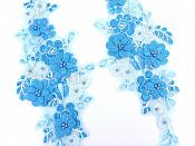 "Sequin Lace Appliques Turquoise White Floral Venice Lace Mirror Pair Clothing Patch 12"" BL148X"