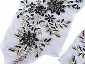 "Lace Appliques Black Gold Silver Floral Venice Lace Mirror Pair Clothing Patch 13"" BL149X"