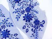 """Lace Appliques Blue Silver Floral Venice Lace Mirror Pair Clothing Patch 13"""" BL149X"""