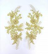 """Lace Appliques Gold Floral Venice Lace Mirror Pair Clothing Patch 13"""" BL149X"""