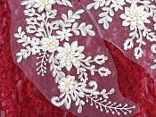 "Lace Appliques Ivory Silver Floral Venice Lace Mirror Pair Clothing Patch 13"" BL149X"