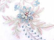 """Lace Appliques Light Blue Mauve Silver Floral Venice Lace Mirror Pair Clothing Patch 13"""" BL149X"""