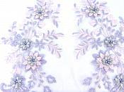 """Lace Appliques Lavender Pink Silver Floral Venice Lace Mirror Pair Clothing Patch 13"""" BL149X"""