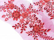 """Lace Appliques Red Silver Floral Venice Lace Mirror Pair Clothing Patch 13"""" BL149X"""