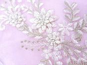 "Lace Appliques White Silver Floral Venice Lace Mirror Pair Clothing Patch 13"" BL149X"