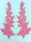 "Embroidered Lace Applique Salmon Floral Venice Lace Patch 10 Mirror Pair"" (BL150)"