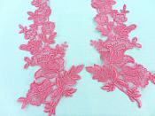"Embroidered Lace Applique Salmon Floral Venice Lace Patch 10 Mirror Pair"" (BL150)"