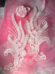 """BL28 White Floral Venise Lace Mirror Pair Sequin Appliques 15"""""""