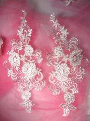 """BL30 White Floral Venise Lace Mirror Pair Sequin Appliques 12"""""""