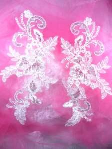 """BL40 White Floral Venise Lace Mirror Pair Sequin Appliques 11"""""""