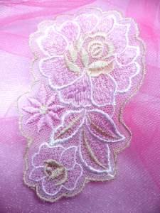 """BL41 Pink Beige Floral Venise Lace Applique 4"""""""