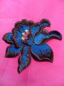 """BL44 Turquoise Brown Floral Venise Lace Applique 3"""""""