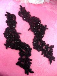"""BL4 Black Floral Venise Lace Mirror Pair Sequin Appliques 9"""""""