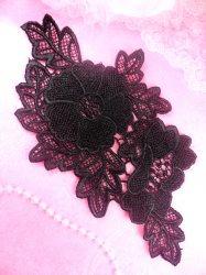 """BL5 Black Venice Lace Flower Applique 9"""""""