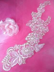 """BL50 Applique White Gold Metallic Floral Venise Lace 10"""""""