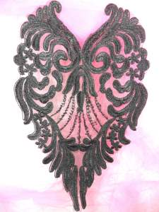 BL61 Bodice Applique Black Venice Lace 10""