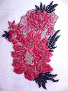 BL62 Red Black Floral Venise Lace Applique 6""