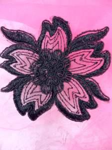 """BL66 Black Floral Venise Lace Applique 3.75"""""""