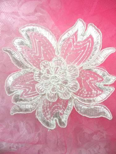 """BL66 White Floral Venise Lace Applique 3.75"""""""