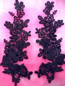 """BL6 Black Floral Venise Lace Mirror Pair Pearl Sequin Appliques 10"""""""