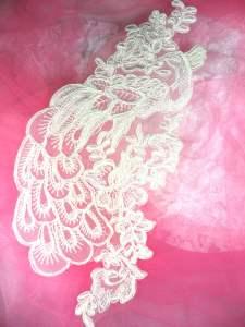 """BL70  Ivory Floral Venise Lace Peacock  Appliques 11.5"""""""