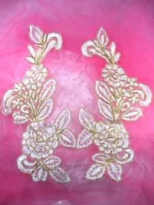 """BL71 White Gold Metallic Floral Venise Lace Mirror Pair Appliques 9.5"""""""