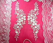 """Mirror Pair Appliques White Silver Metallic Floral Venise Lace Embroidered 11.5"""" (BL80)"""
