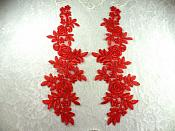 """Mirror Pair Red Floral Venise Lace Embroidered Appliques 14"""" (BL82)"""