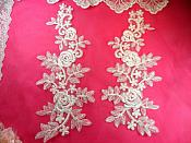 """White Bridal Appliques Floral Venise Lace Embroidered Flowers Sewing BL83X 14"""""""