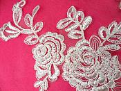 """Mirror Pair White Floral Venise Lace Embroidered Appliques 9.5"""" (BL85)"""