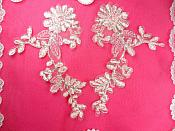 """Mirror Pair Appliques Light Pink Silver Metallic Floral Venise Lace Embroidered 7"""" (BL87)"""