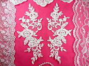 "Mirror Pair Antique White Floral Venise Lace Embroidered Appliques 9"" (BL88)"