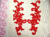 """Mirror Pair Red Floral Venise Lace Embroidered Appliques 9"""" (BL89)"""