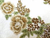 "Floral Applique Embroidered Venise Lace Mirror Pair Brown 15.5"" (BL91X)"