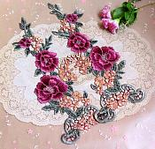 "Floral Applique Embroidered Venise Lace Mirror Pair Mauve 15.5"" (BL91X)"