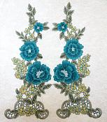 """Floral Applique Embroidered Venise Lace Mirror Pair Teal 15.5"""" (BL91X)"""
