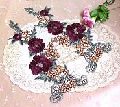 "Floral Applique Embroidered Venise Lace Mirror Pair Wine 15.5"" (BL91X)"