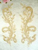 "Embroidered Appliques Light Gold Metallic Mirror Pair Designer Scroll Motifs 9.5"" (BL92X)"
