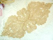 "Embroidered Appliques Light Gold Metallic Designer Scroll Motifs 14"" (BL93-lgl)"