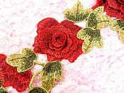 """Embroidered Floral 3D Applique Red Craft Patch Clothing Motif 16.25"""" (BL95)"""