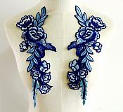 """Embroidered Floral Applique Mirror Pair Blue Clothing Patch Craft Motif 11.5"""" (BL96X)"""